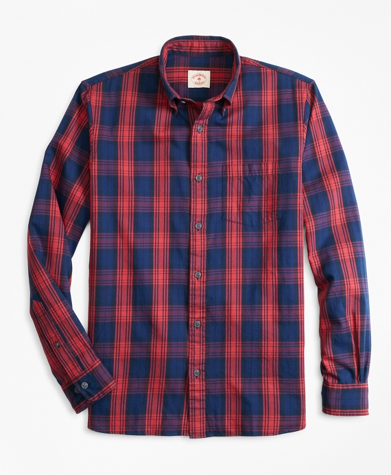 Indigo-Dyed Plaid Twill Sport Shirt Blue-Red