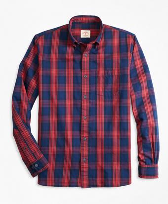Indigo-Dyed Plaid Twill Sport Shirt