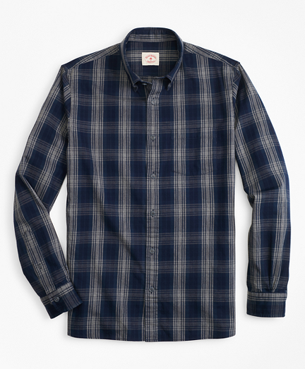 Indigo-Dyed Plaid Twill Sport Shirt