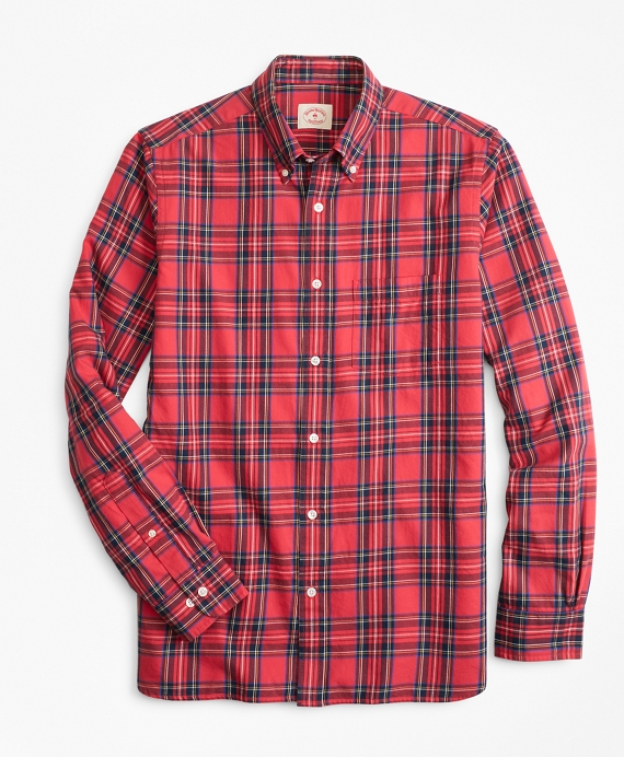 Stewart Tartan Cotton Flannel Sport Shirt Red-Black