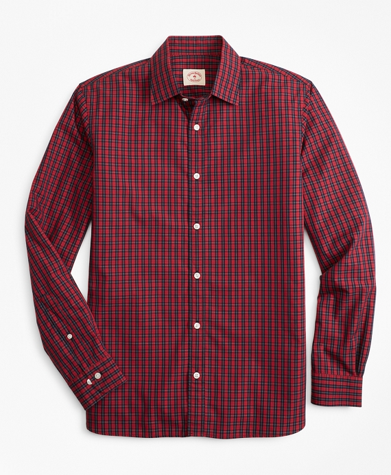 Tartan Nine-to-Nine Spread Collar Shirt Red-Navy