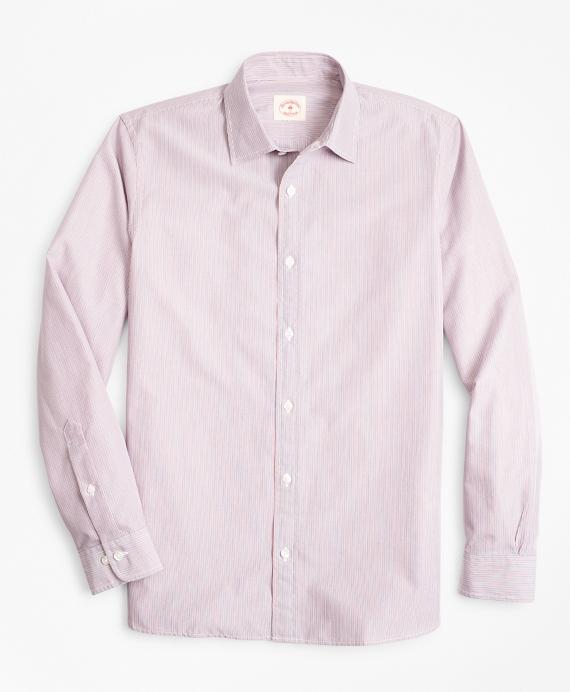 Multi-Stripe Nine-to-Nine Cotton Broadcloth Sport Shirt Red