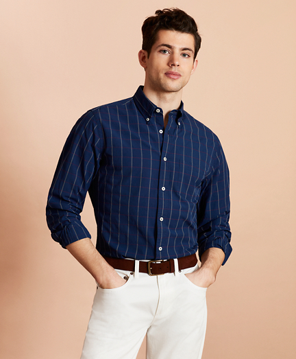 Indigo Windowpane Sport Shirt