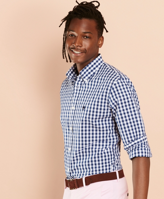 Gingham Broadcloth Sport Shirt Navy