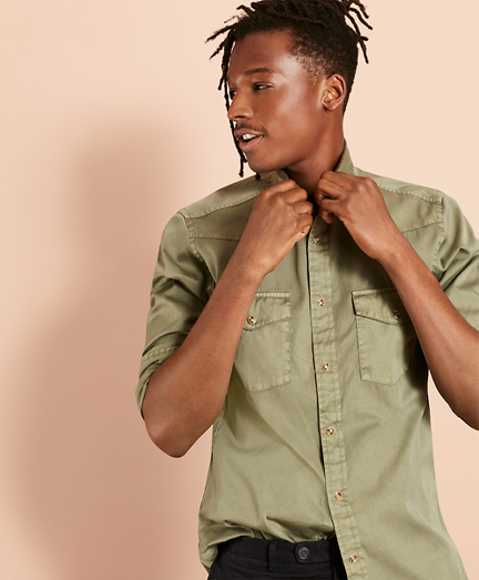 Garment-Dyed Twill Sport Shirt