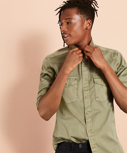 Brooksbrothers Garment-Dyed Twill Sport Shirt