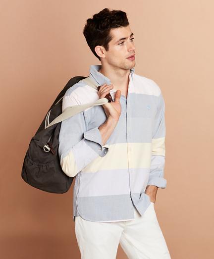 Color-Block Stripe Cotton Oxford Sport Shirt