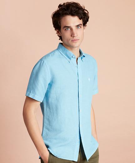 Linen-Blend Short-Sleeve Sport Shirt