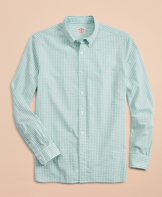Gingham Seersucker Sport Shirt Green