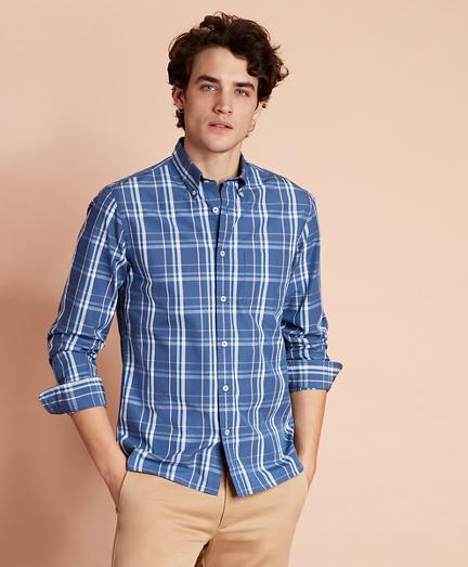 Plaid Cotton Broadcloth Sport Shirt