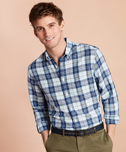 Plaid Linen-Blend Sport Shirt