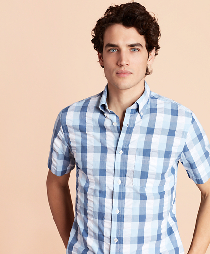 Checked Seersucker Short-Sleeve Sport Shirt