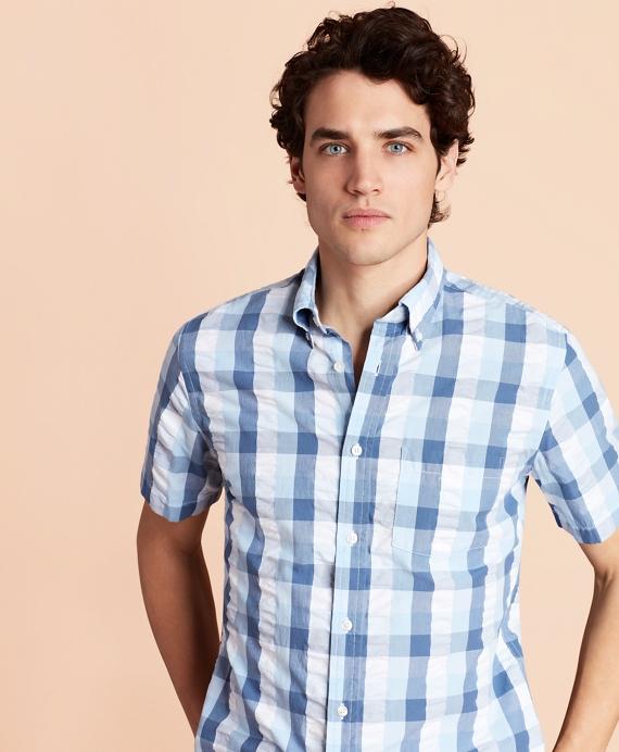Checked Seersucker Short-Sleeve Sport Shirt Blue