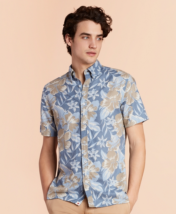 Floral-Print Linen-Blend Short-Sleeve Sport Shirt Blue