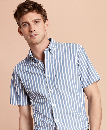Striped Seersucker Short-Sleeve Sport Shirt