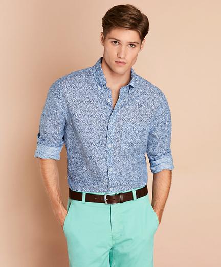 Floral Linen-Blend Sport Shirt