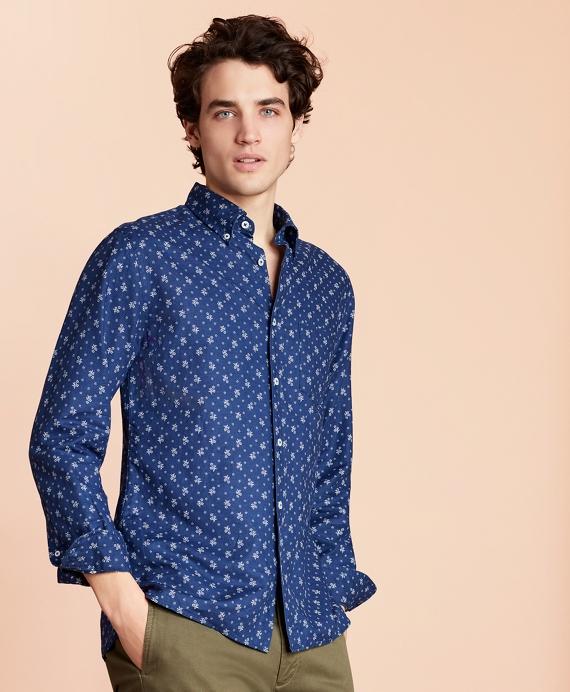 Floral Linen-Blend Sport Shirt Navy