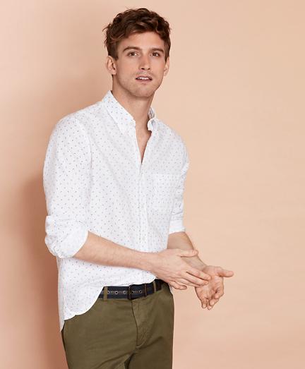 Palm Leaf Linen-Blend Sport Shirt