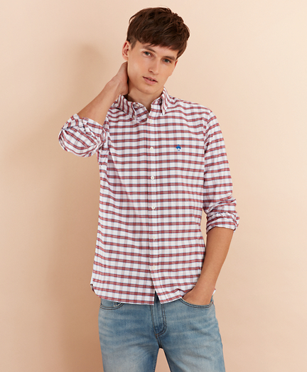 Checked Cotton Oxford Sport Shirt