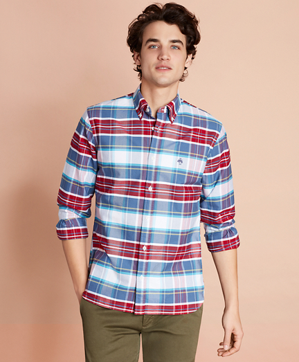 Plaid Cotton Oxford Sport Shirt