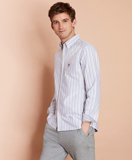 Multi-Stripe Cotton Oxford Sport Shirt