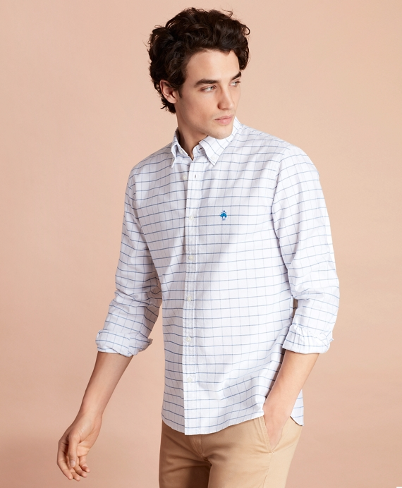 Windowpane Cotton Oxford Sport Shirt White
