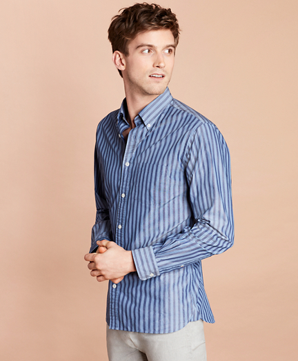 Striped Yarn-Dyed Broadcloth Sport Shirt