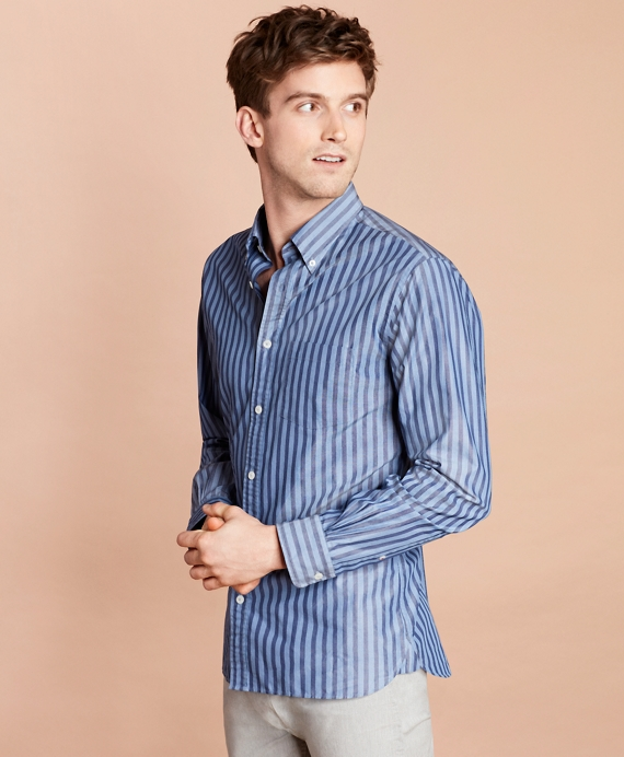 Striped Yarn-Dyed Broadcloth Sport Shirt Blue