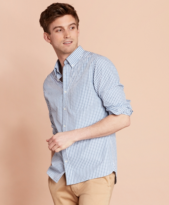 Checked Yarn-Dyed Broadcloth Sport Shirt Blue