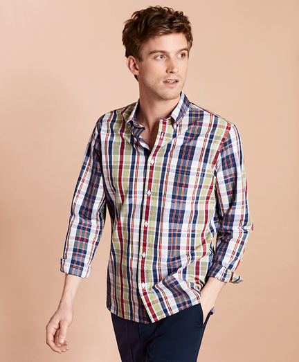 Plaid Yarn-Dyed Broadcloth Sport Shirt