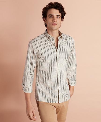 Geometric-Print Poplin Sport Shirt