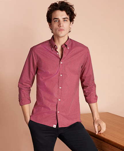 Red Dot-Print Poplin Sport Shirt