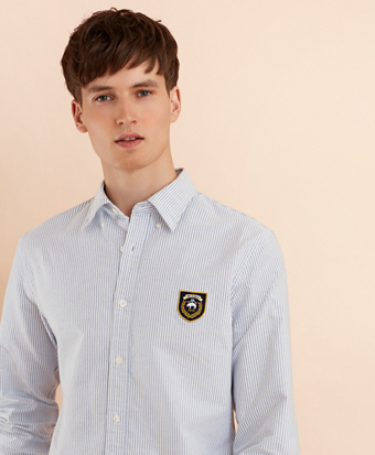 Striped Oxford Elbow Patch Sport Shirt