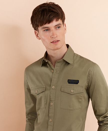 Cotton Twill Patch Sport Shirt