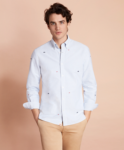 Striped Pinpoint Oxford Embroidered Sport Shirt