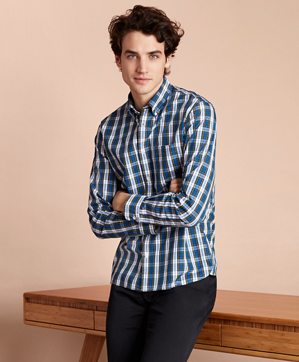 Plaid Cotton Broadcloth Sport Shirt