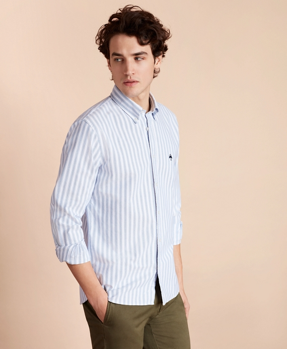 Striped Cotton Oxford Sport Shirt Navy