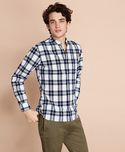 Plaid Indigo Band Collar Sport Shirt