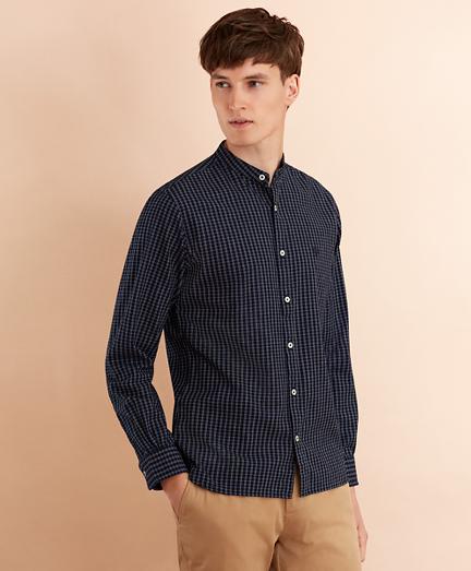 Checked Indigo Band Collar Sport Shirt