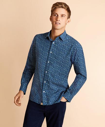Indigo Floral-Print Poplin Shirt