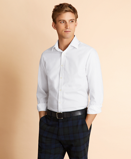 Cotton Dobby Spread-Collar Shirt