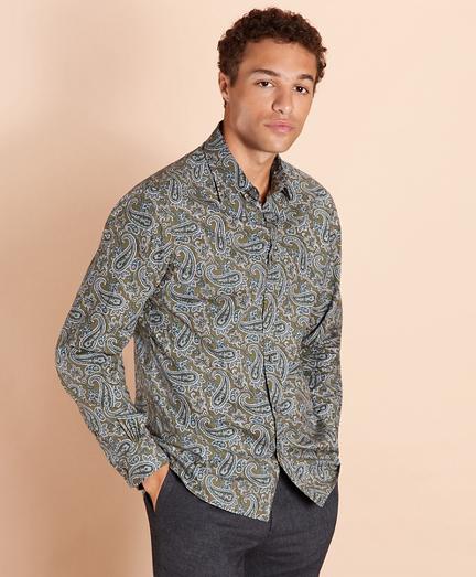Paisley-Print Poplin Shirt
