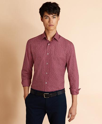 Berry-Print Poplin Shirt