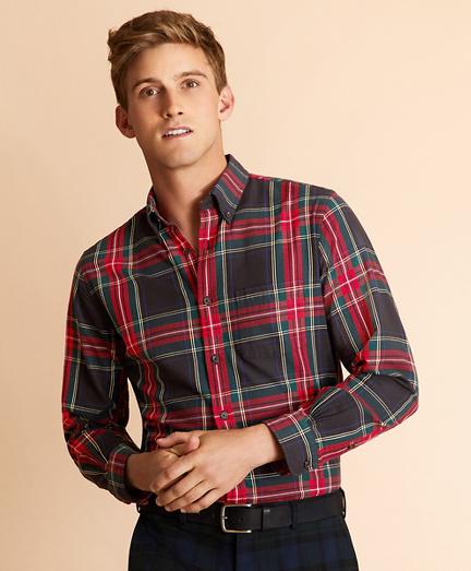 Black Stewart Tartan Flannel Shirt
