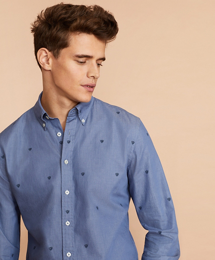 Indigo Cotton Twill Printed Shirt