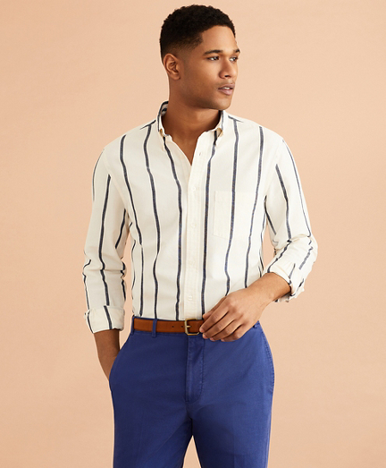 Indigo Striped Canvas Shirt