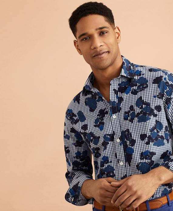 Gingham Flower-Print Shirt Blue