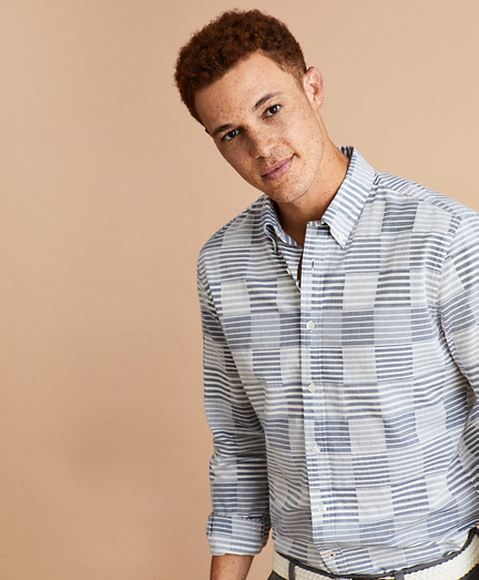 Cotton Patchwork Striped Shirt