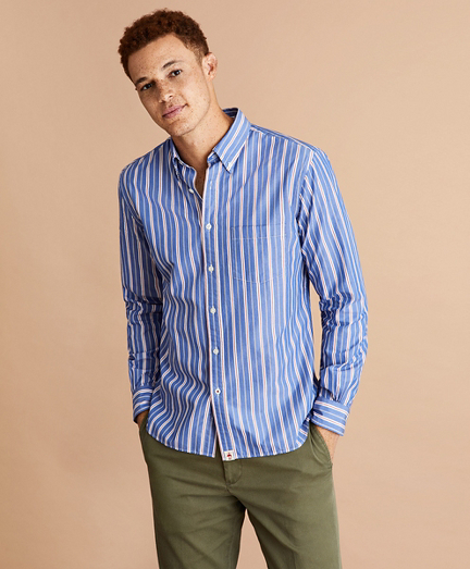 Alternating Stripe Cotton Broadcloth Shirt