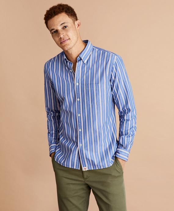 Alternating Stripe Cotton Broadcloth Shirt Blue